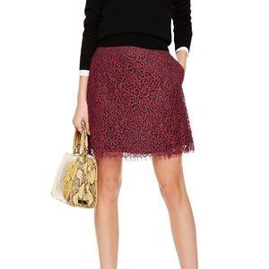 Carven Women's Lace Skirt Sz 34 NWOT 780 Burgundy